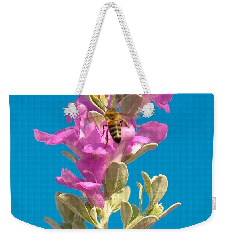 Backyard Weekender Tote Bag featuring the photograph Honey Bees On Sage 1 by Sean Wray