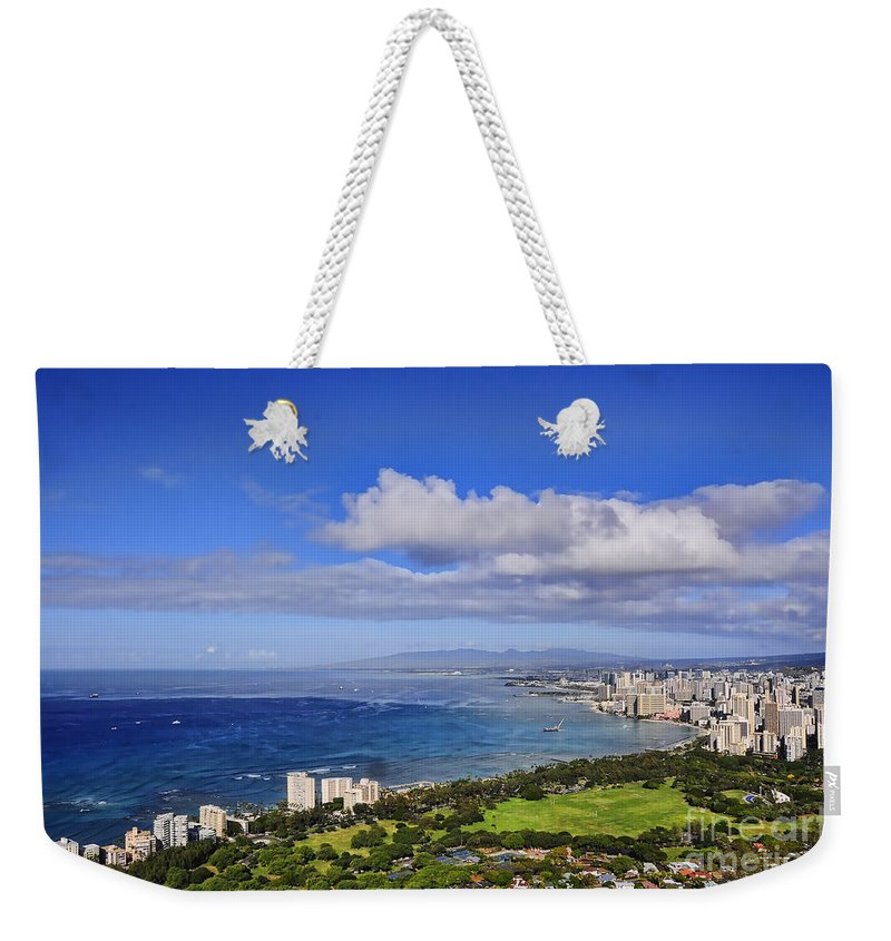 Oahu Weekender Tote Bag featuring the photograph Honolulu From Diamond Head by Gary Beeler