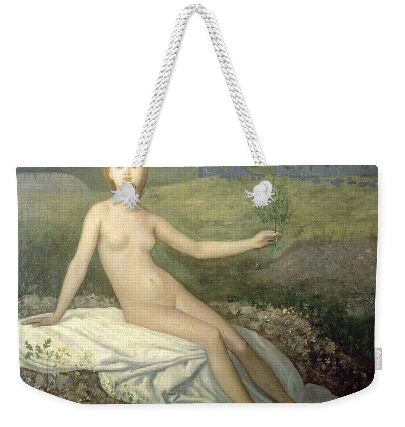 Hope Weekender Tote Bag featuring the painting Hope by Pierre Puvis de Chavannes