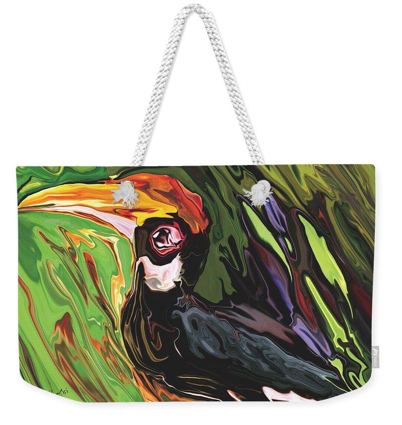 Animal Weekender Tote Bag featuring the painting Hornbill by Rabi Khan