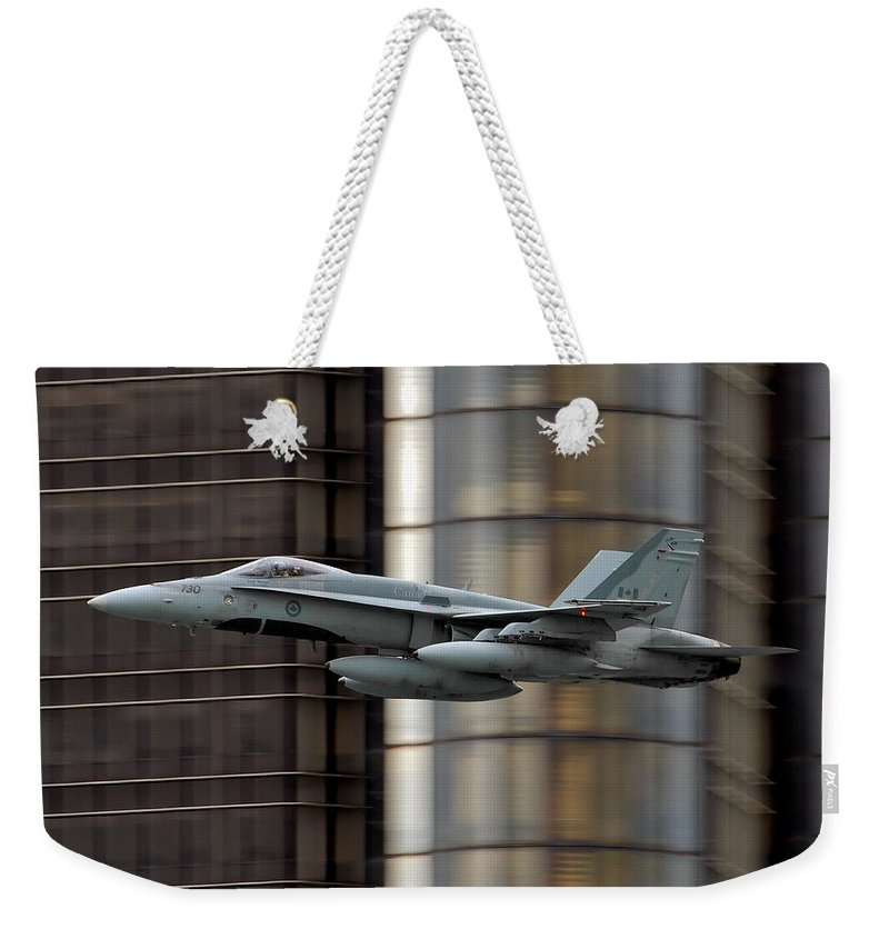 188730 Cf-188 730 Hornet Weekender Tote Bag featuring the photograph Hornet Buzzing Detroit by Bill Lindsay
