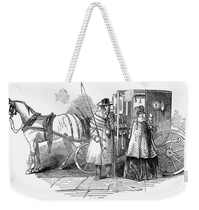 1847 Weekender Tote Bag featuring the photograph Horse Carriage, 1847 by Granger