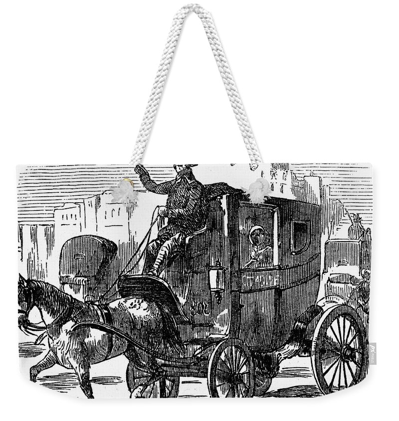1853 Weekender Tote Bag featuring the photograph Horse Carriage, 1853 by Granger