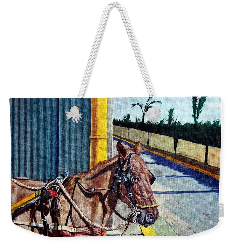 Horse Weekender Tote Bag featuring the painting Horse In Malate by Christopher Shellhammer