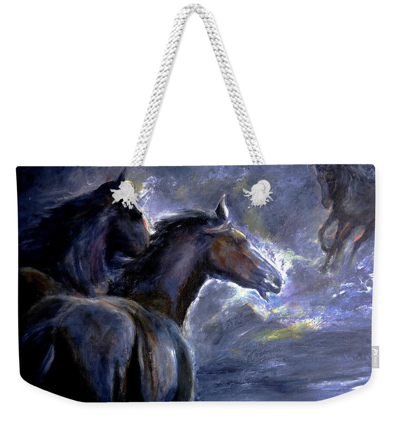 Animals Weekender Tote Bag featuring the painting Horses by Sylva Zalmanson