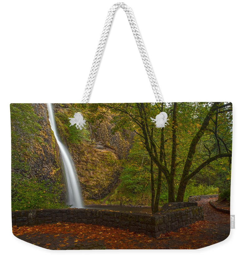 Creek Weekender Tote Bag featuring the photograph Horsetail Falls by Mike Reid