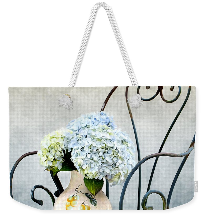 Hortensia Weekender Tote Bag featuring the painting Hortensia Flowers by Nailia Schwarz