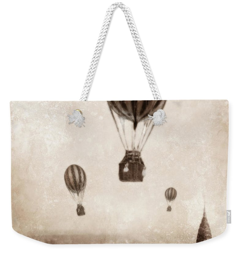 Balloon Weekender Tote Bag featuring the photograph Hot Air Balloons Over 1949 New York City by Jill Battaglia