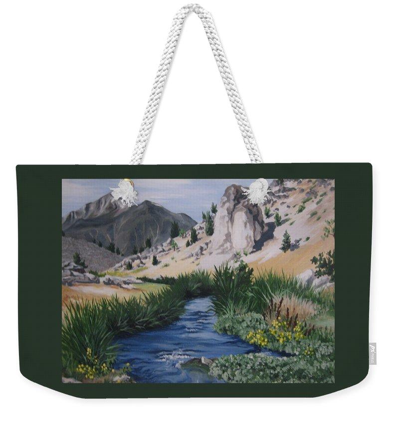 Hwy 395 Weekender Tote Bag featuring the painting Hot Creek by Barbara Prestridge