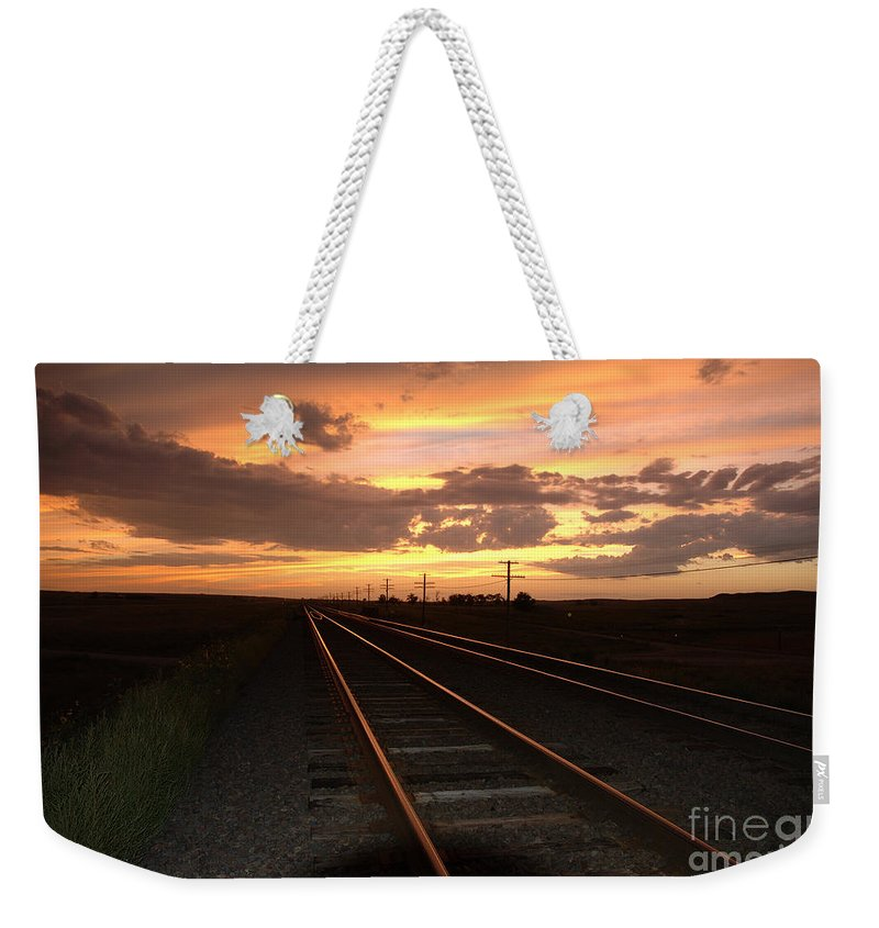 Sunset Weekender Tote Bag featuring the photograph Hot Rails by Jerry McElroy