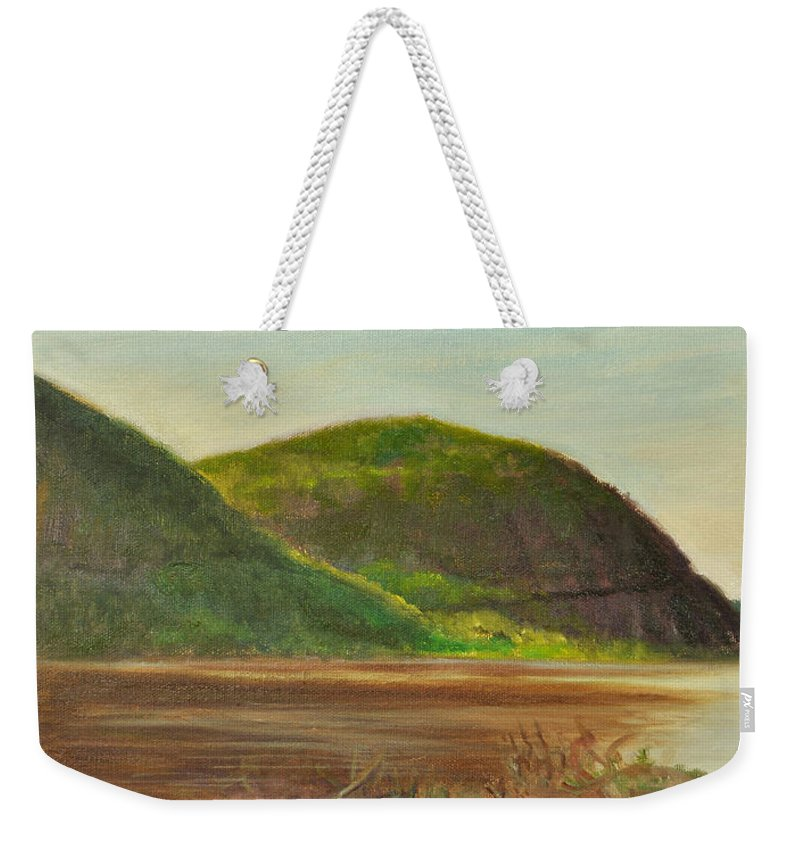 Landscape Weekender Tote Bag featuring the painting Hudson at Storm King by Phyllis Tarlow