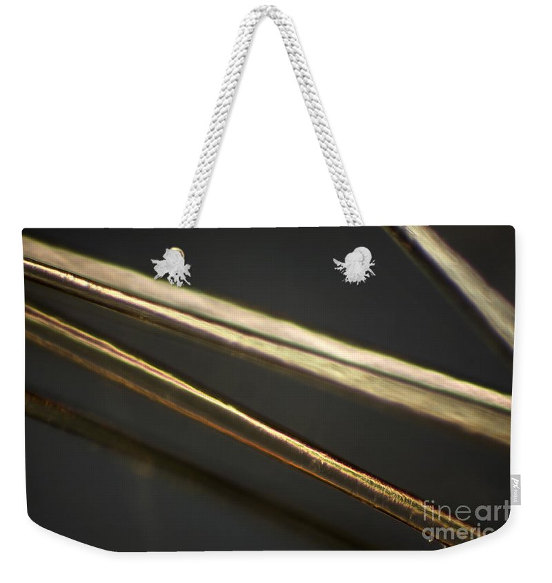 Light Microscopy Weekender Tote Bag featuring the photograph Human Hair by Ted Kinsman