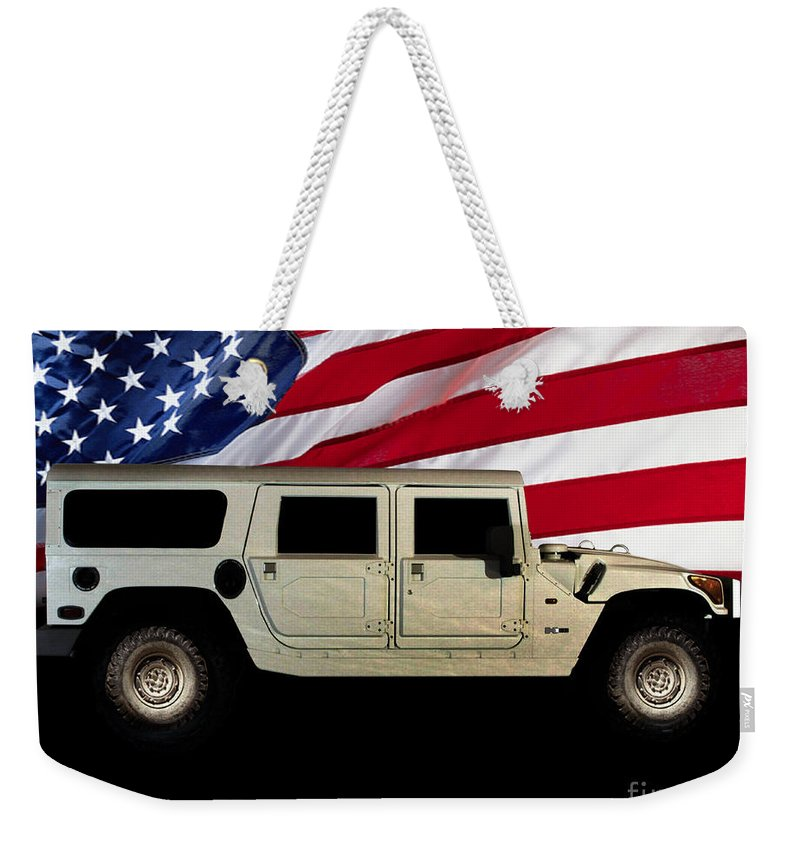 Hummer Patriot Weekender Tote Bag featuring the photograph Hummer Patriot by Peter Piatt