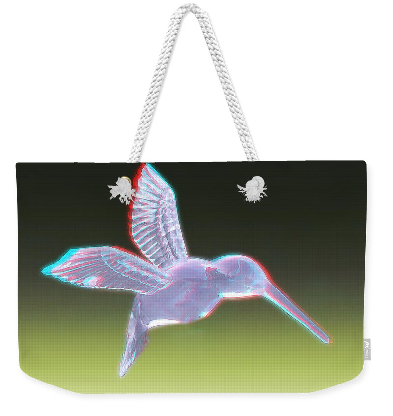 3d Weekender Tote Bag featuring the photograph Hummingbird - Use Red-cyan 3d Glasses by Brian Wallace