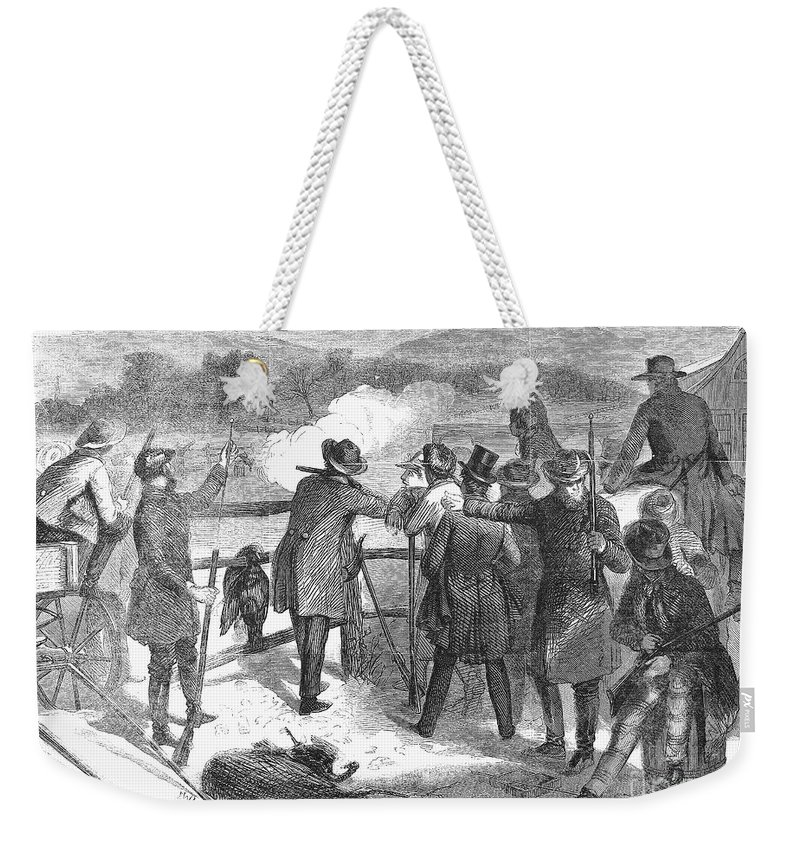 1867 Weekender Tote Bag featuring the photograph Hunting: Turkey, 1867 by Granger