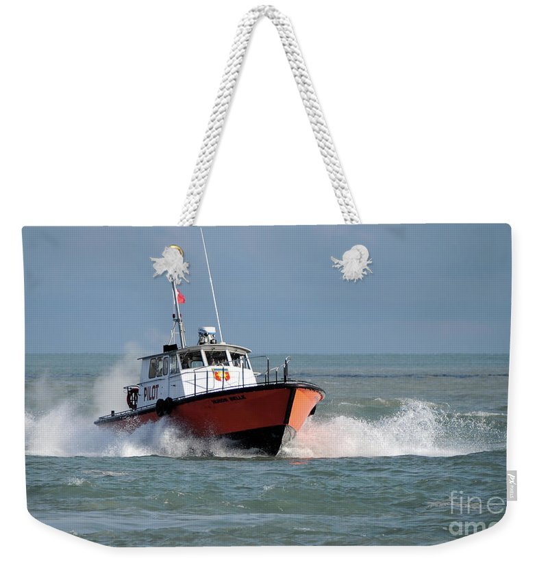 Boat Weekender Tote Bag featuring the photograph Huron Belle Pilot Boat by Ronald Grogan