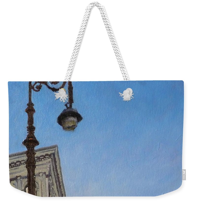 Landscape Weekender Tote Bag featuring the painting Hybrid Lamppost On Canal Street by Peter Salwen