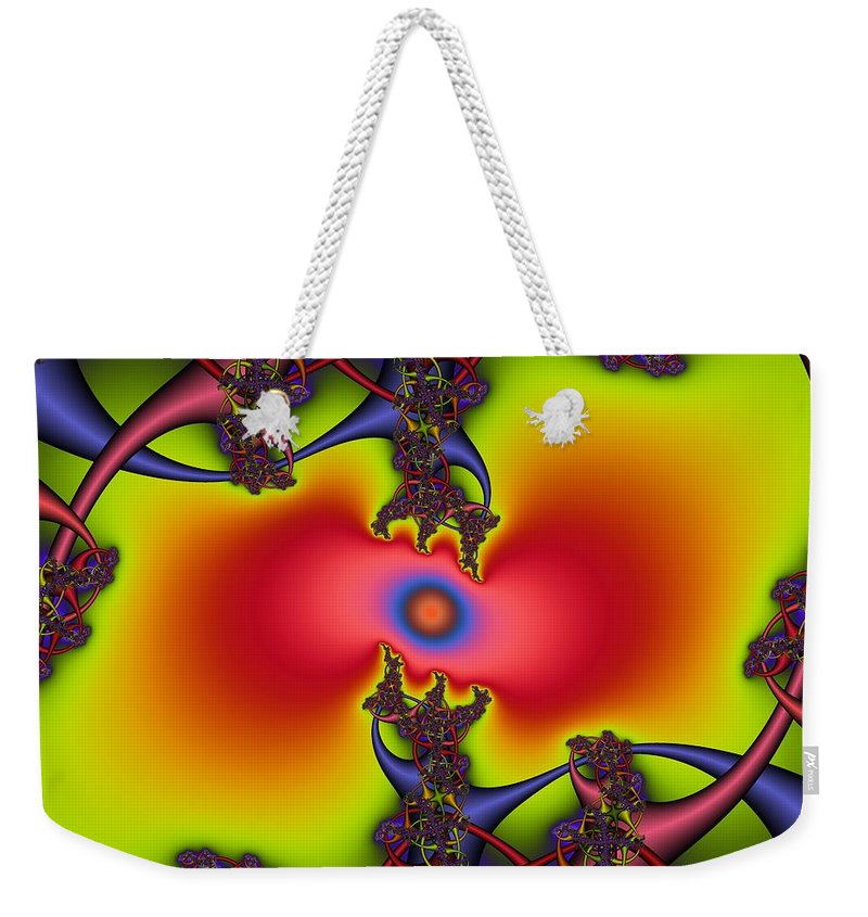 Abstract Fractal Art Weekender Tote Bag featuring the digital art Hyper by Christy Leigh