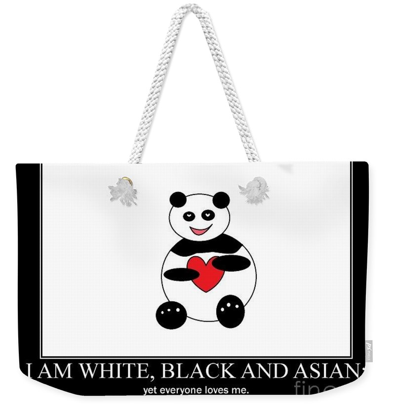 Panda Weekender Tote Bag featuring the photograph I Am White Black Asian. I Am Loving Panda by Ausra Huntington nee Paulauskaite