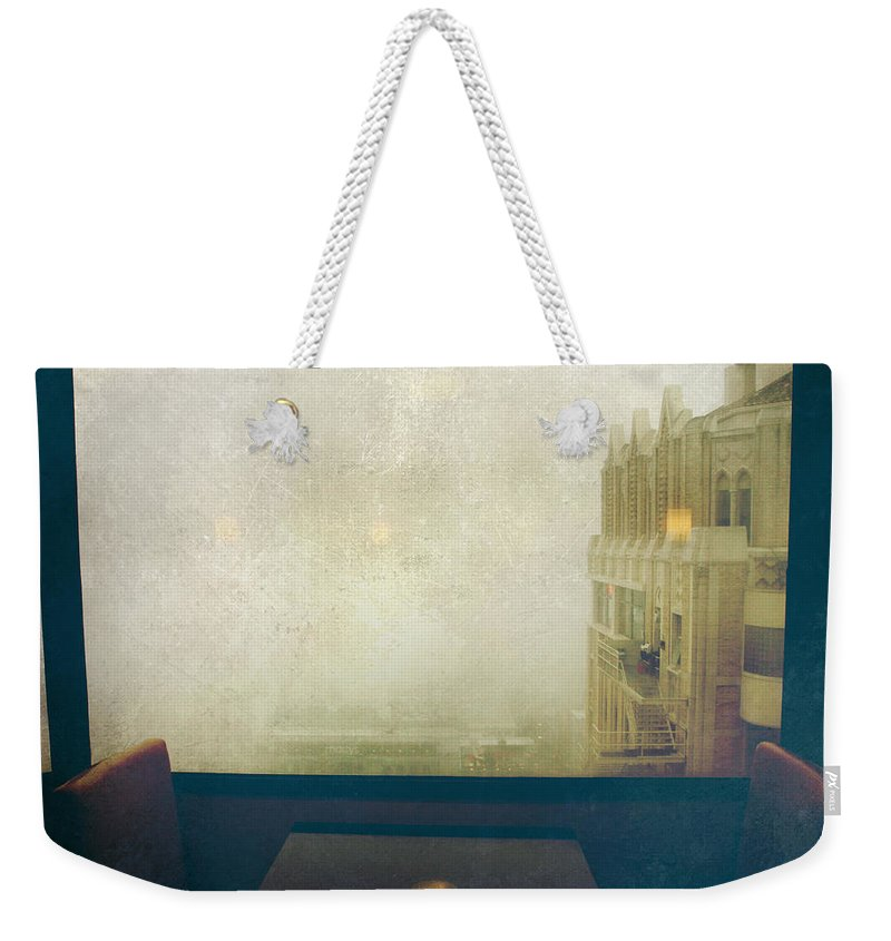 Window Weekender Tote Bag featuring the photograph I Just Sat There Staring Out At The Fog by Laurie Search