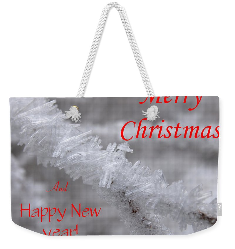 Christmas Weekender Tote Bag featuring the photograph Ice Crystal Christmas by DeeLon Merritt