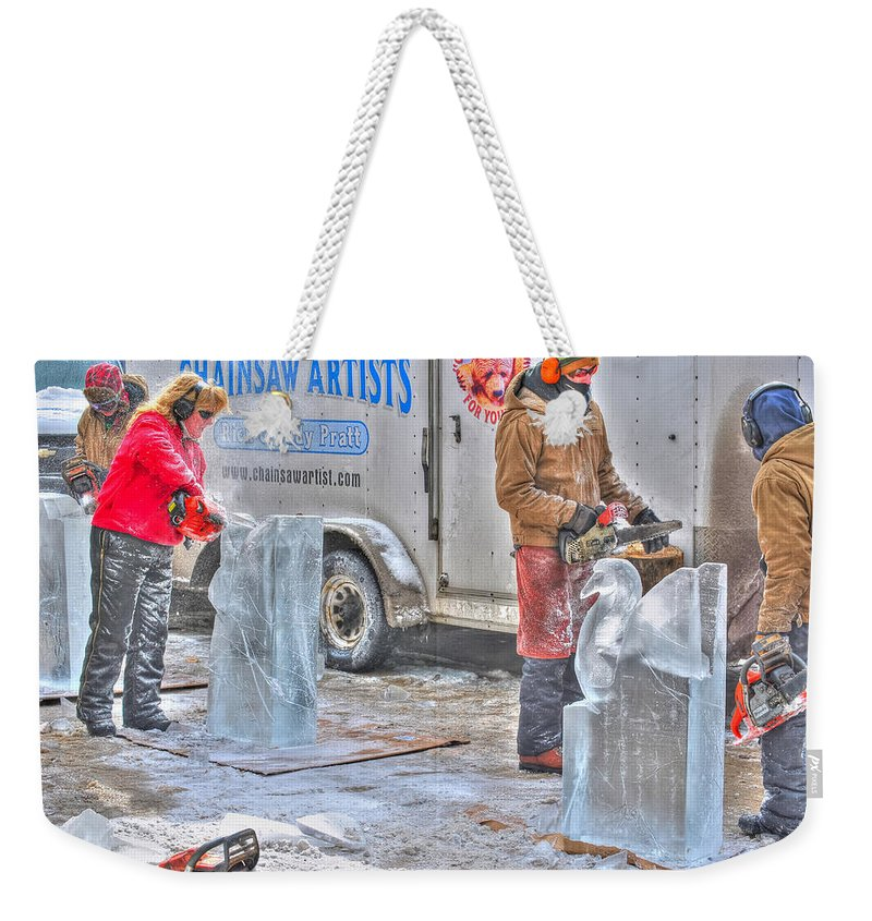 Weekender Tote Bag featuring the photograph Ice Sculptures Coming About by Michael Frank Jr