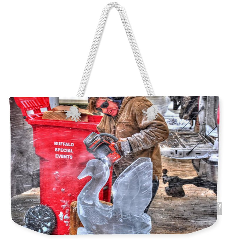 Weekender Tote Bag featuring the photograph Ice Swan by Michael Frank Jr