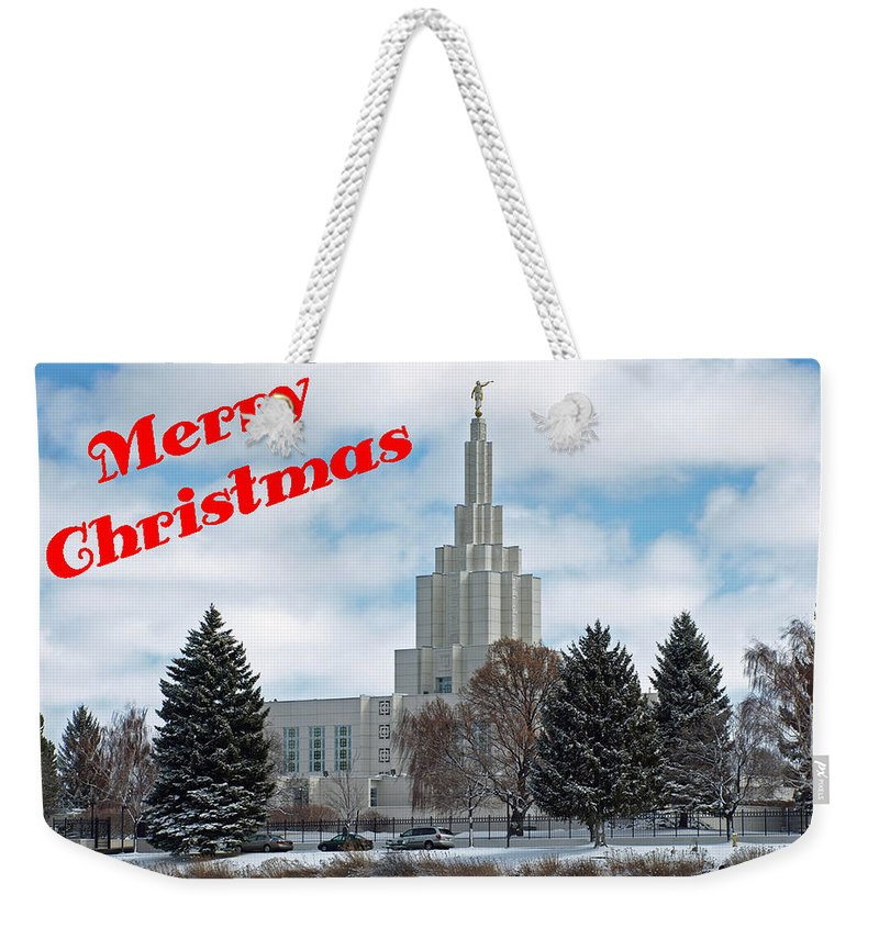 Temple Weekender Tote Bag featuring the photograph If Temple Christmsa Card 1 by DeeLon Merritt