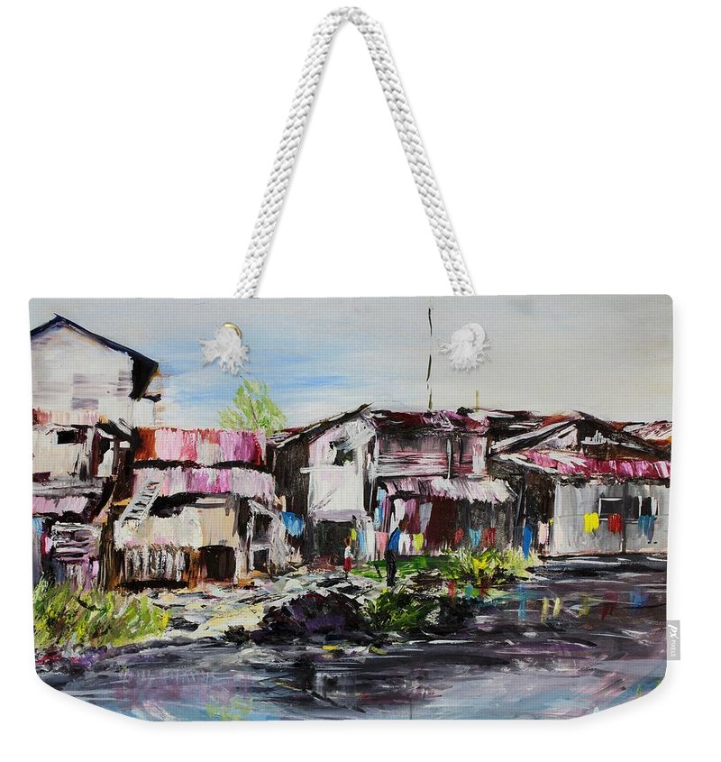 Creek Weekender Tote Bag featuring the painting Ilaje by Uly Ogwah