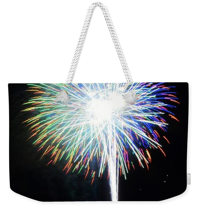 Fireworks Weekender Tote Bag featuring the photograph Illuminate The Night by David Morefield