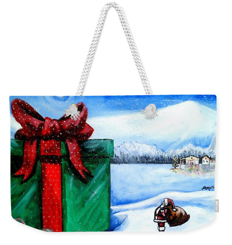 Christmas Weekender Tote Bag featuring the painting I'm Going To Need A Bigger Sleigh by Shana Rowe Jackson