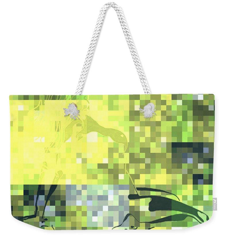 Light Digital Art Weekender Tote Bag featuring the digital art Impatience Geometric Yellow by Mayhem Mediums
