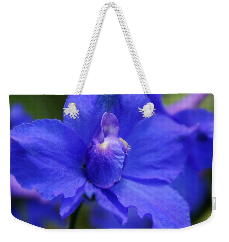 Blue Weekender Tote Bag featuring the photograph In A Blue Mood by Sabrina L Ryan
