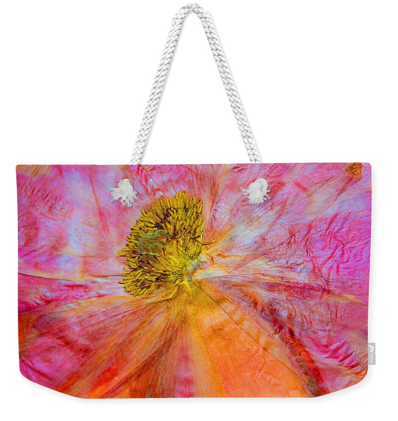 Dried Poppy Weekender Tote Bag featuring the mixed media In Another Light by Marie Jamieson