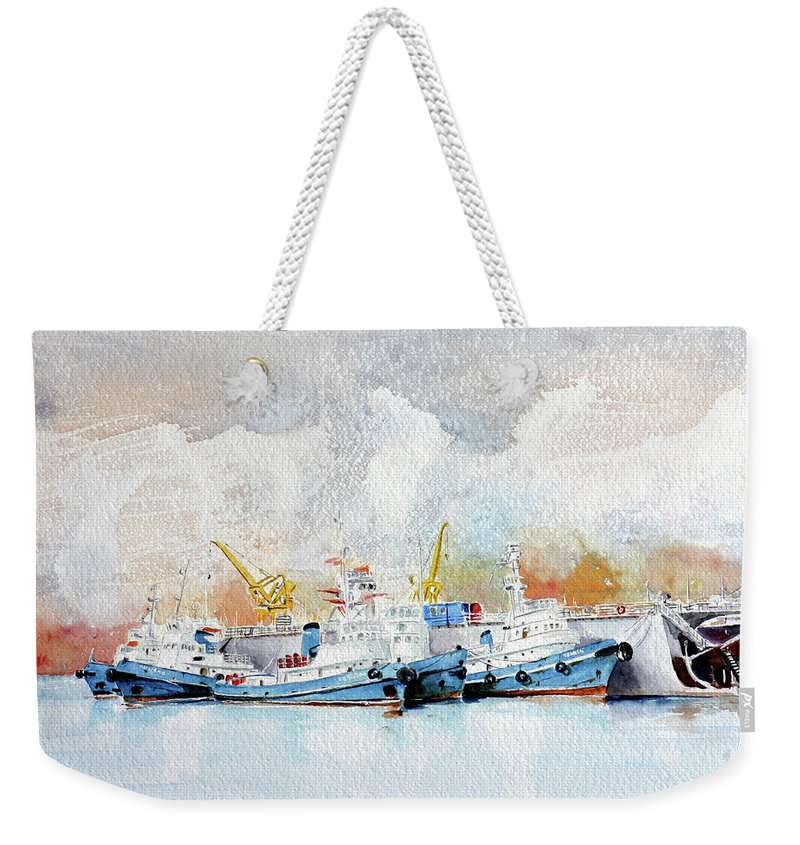 Sea Scape Weekender Tote Bag featuring the painting In Attesa Attorno Al Bacino by Giovanni Marco Sassu