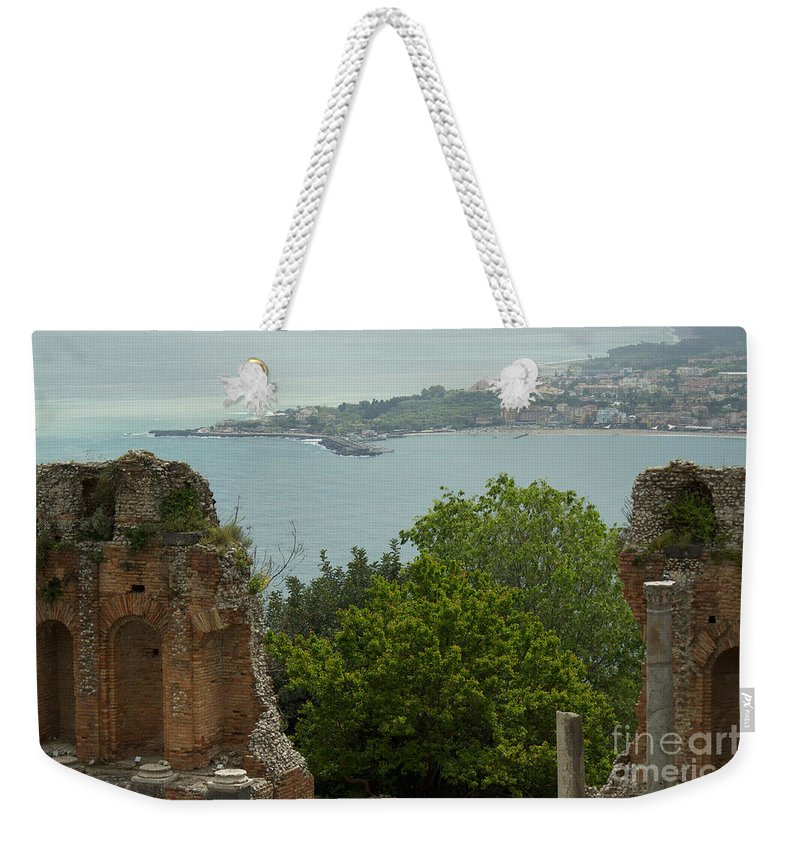 Taormina Weekender Tote Bag featuring the photograph In Between The Vestige by Donato Iannuzzi