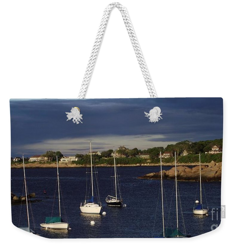 Rockkport Weekender Tote Bag featuring the photograph In For The Night by Michelle Welles