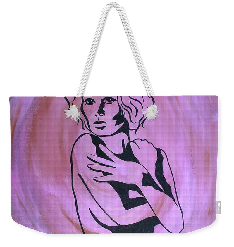 Pink Weekender Tote Bag featuring the painting In The Pink by Peggy Starks
