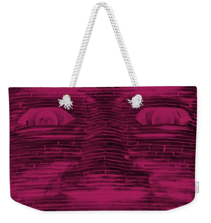 Architecture Weekender Tote Bag featuring the photograph In Your Face In Negative Hot Pink by Rob Hans