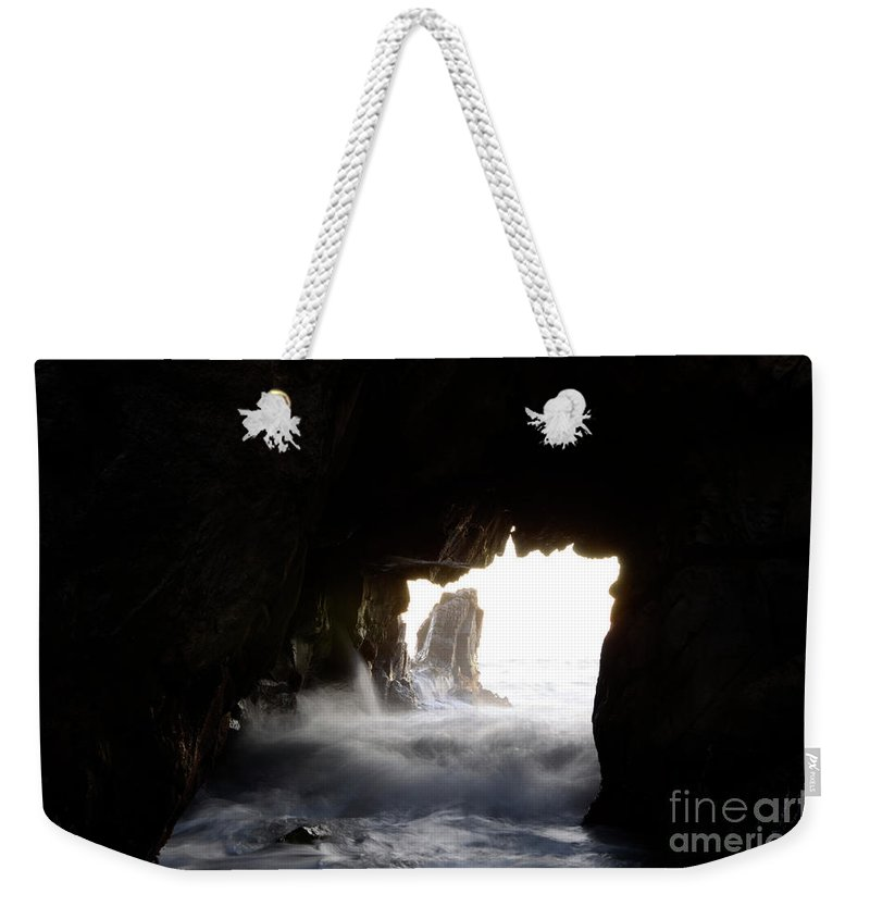 Pfeiffer Rock Weekender Tote Bag featuring the photograph Incoming Tide Big Sur by Bob Christopher