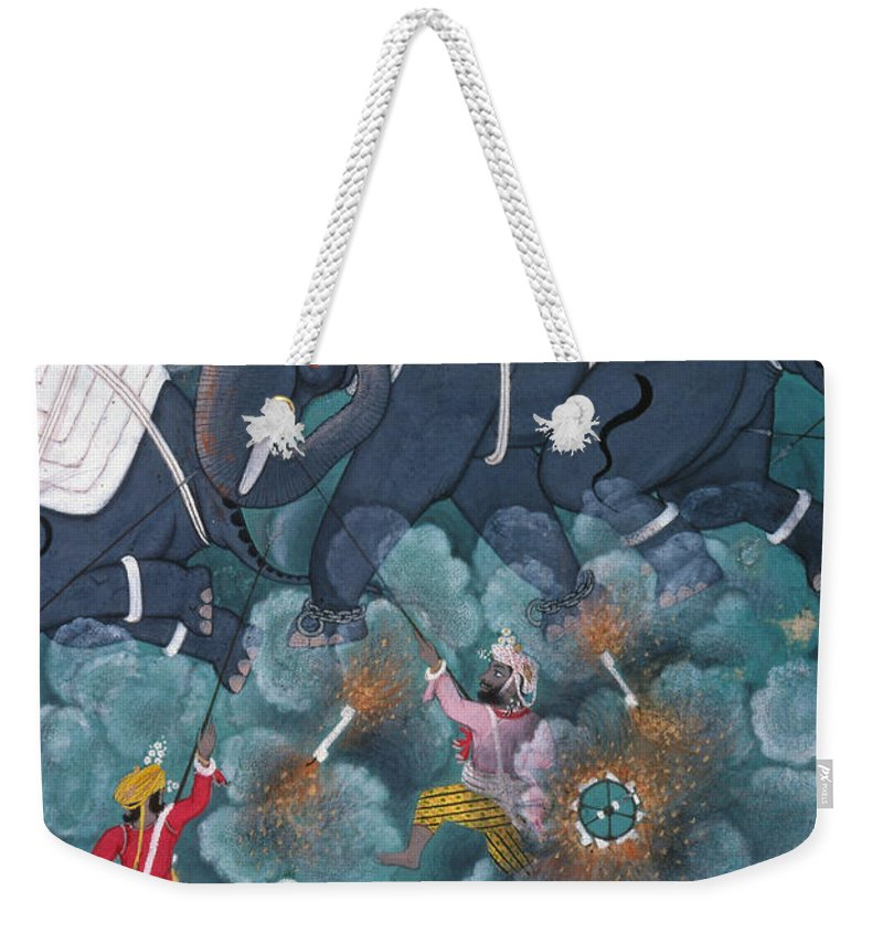 Asian Weekender Tote Bag featuring the photograph India: Elephant Fight by Granger