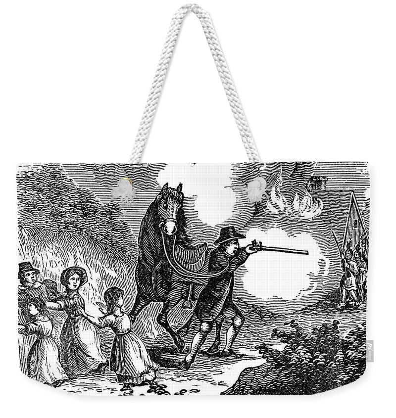 1697 Weekender Tote Bag featuring the photograph Indian Attack, 1697 by Granger