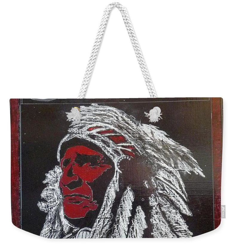 Indian Weekender Tote Bag featuring the painting Indian Motorcycles by Richard Le Page