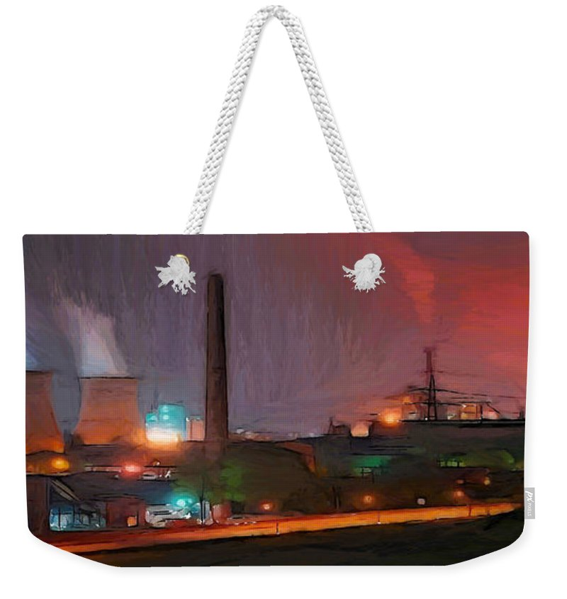 Urban Industry Industrial Light Lights Atomic Nuclear Waste Chimney Electric Street Weekender Tote Bag featuring the painting Industrial Lights by Steve K