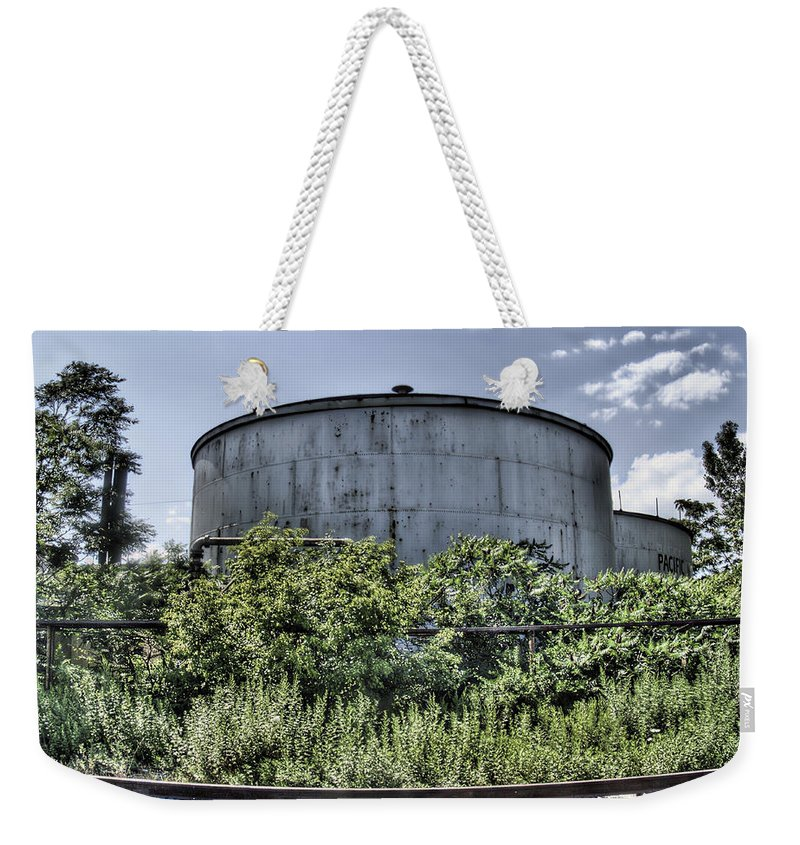 Railroad Weekender Tote Bag featuring the photograph Industrial Tank by Tammy Wetzel