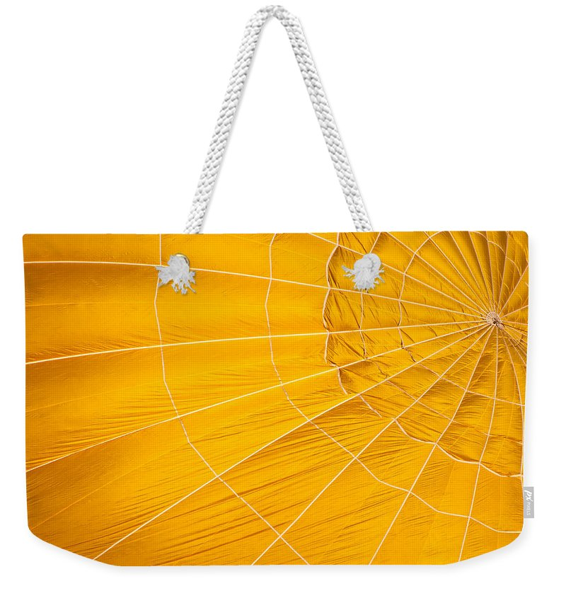 Hot Weekender Tote Bag featuring the photograph Inflating Folds Of Yellow by Colleen Coccia