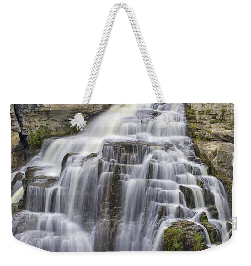 Canvas Weekender Tote Bag featuring the photograph Inglis Falls by Phill Doherty