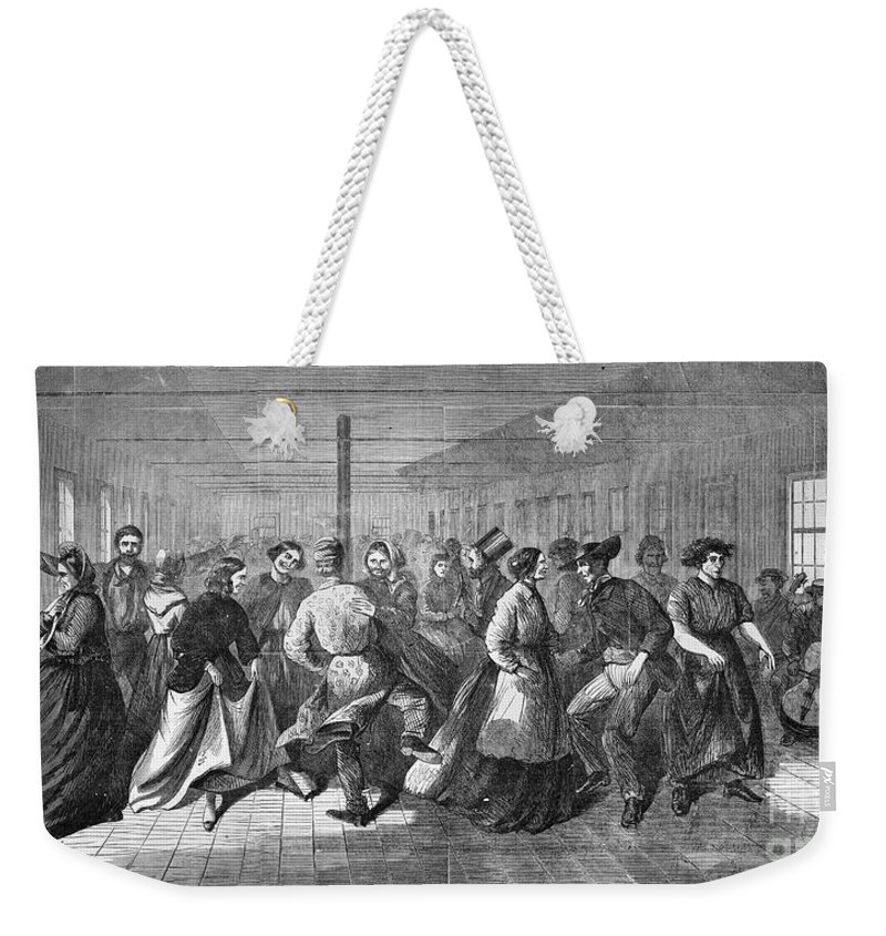1865 Weekender Tote Bag featuring the photograph Insane Asylum: Dance by Granger