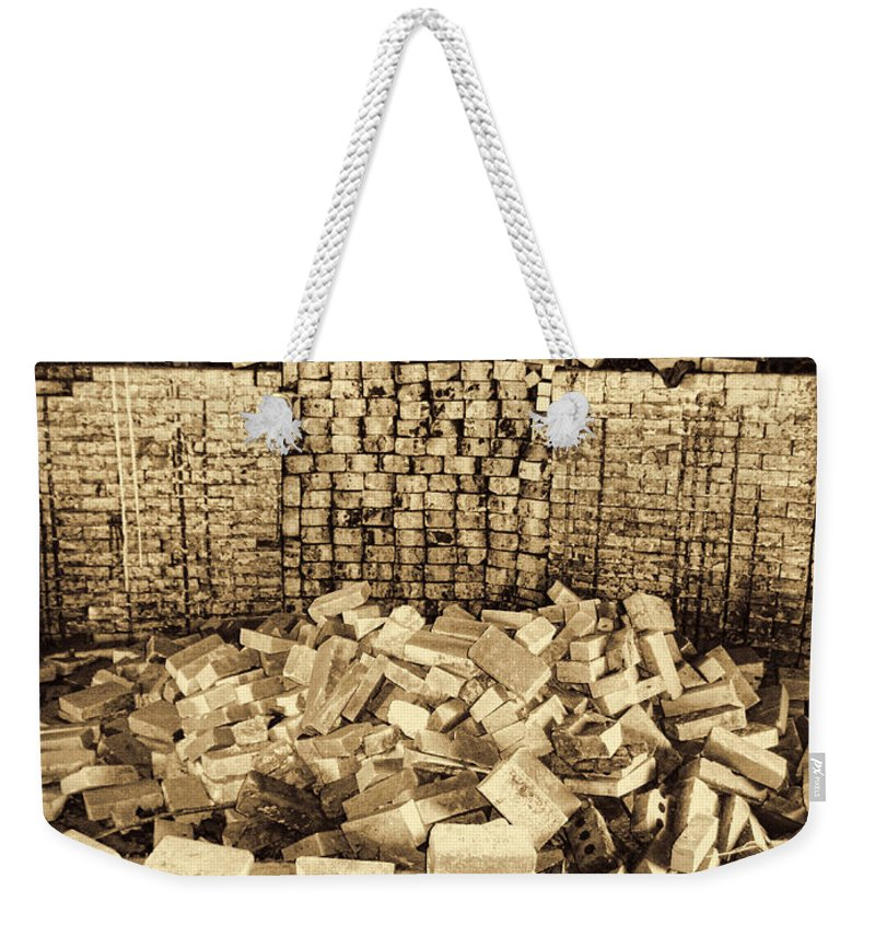 Brick Kiln Weekender Tote Bag featuring the photograph Inside The Historical Brick Kiln Decatur Alabama Usa by Kathy Clark