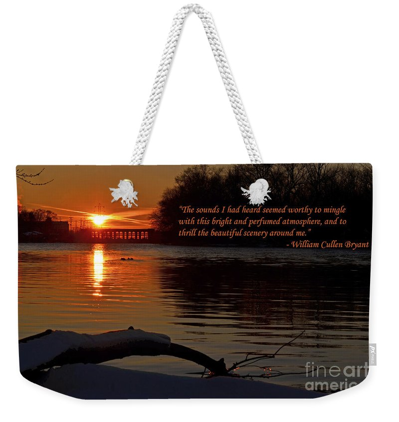 Color Photography Weekender Tote Bag featuring the photograph Inspirational Sunset With Quote by Sue Stefanowicz
